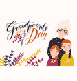 grandparents day greeting card template with cute vector image