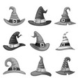 grayscale blank cartoon witch hat halloween party vector image vector image