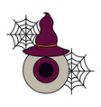 halloween eye with hat witch isolated icon vector image vector image