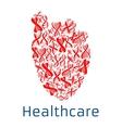 healthcare red heart symbol dna helix vector image vector image