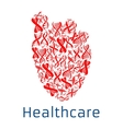 Healthcare red heart symbol of DNA helix vector image vector image
