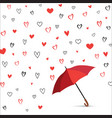 heart background with umbrella love pattern for vector image vector image
