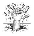 human fist crash wall vector image