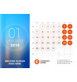 january 2019 desk calendar for 2019 year design vector image vector image