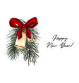 jingle bells christmas card with pine branch red vector image vector image