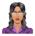 long haired girl wearing glasses on white vector image vector image
