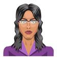 Long haired girl wearing glasses on white