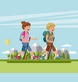 man and woman hiking in the mountains vector image