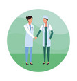 medical teamwork round icon vector image vector image