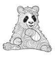 monochrome hand drawn zentagle of panda bear vector image vector image