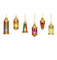 Oriental lamps arab lanterns hang on gold chains