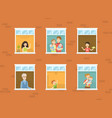 people looking out windows set neighbors in vector image