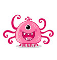 pink alien with one eye is smiling on a white vector image vector image