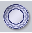 Plate with blue ornamental border Template design vector image vector image