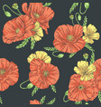 poppies seamless pattern dark background vector image vector image