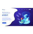 robot software isometric3d landing page vector image vector image
