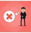 Sad cartoon businessman and red cross vector image vector image