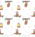 seamless pattern with cute lazy sloths vector image