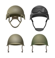 set military helmets classical with goggles vector image vector image