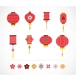 Set of Chinese red lanterns and elements vector image vector image