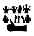 silhouette of people with thumb hand vector image vector image