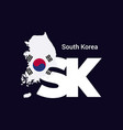 south korea initial letter country with map and vector image
