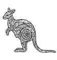 Stylized kangaroo zentangle vector image