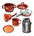 tableware and household items made of metal vector image vector image