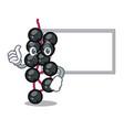 thumbs up with board eldeyberry fruit above wooden vector image vector image