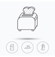 Toaster refrigerator and iron icons vector image