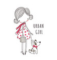 urban girl with dog for clothing vector image vector image