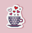 valentine day cup hearts line sticker vector image
