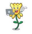 with laptop daffodil flower character cartoon vector image vector image