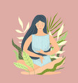 woman sitting in calm and peace in nature vector image