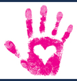 Heart in hand print people support