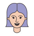 female face with short straight hairstyle in vector image