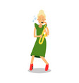 young woman in green dress playing sax cartoon vector image