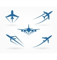 Flying up airplane icons vector image