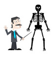 man with human skeleton isolated on white vector image