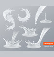 realistic milk splashes set vector image