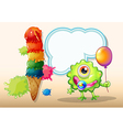 A young green monster with a balloon standing near vector image vector image
