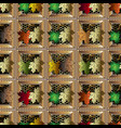 autumn maple leaves colorful checkered 3d vector image