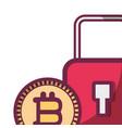 bitcoins and padlock vector image vector image