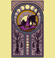 black cat and witch hat art nouveau style card vector image vector image