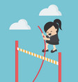 business woman jump over obstacles avoidance vector image