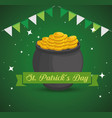 cauldron with coins and party banner to st patrick vector image