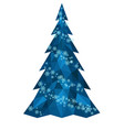 christmas polygonal christmas tree with snowflakes vector image