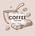 coffee cup beans and chocolate bar monochrome vector image vector image