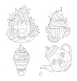 Coloring page set Cupcake ice cream tea pot vector image vector image