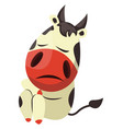 cow is feeling sad on white background vector image vector image